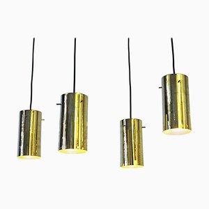 Lámparas colgantes de latón con forma cilíndrica de Hans A. Jakobsson, Sweden, años 60. Juego de 2