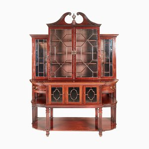 Antique Mahogany Astragal Glazed Breakfront Bookcase