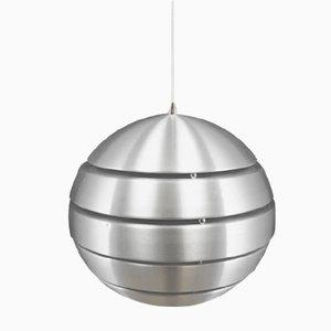 Vintage Danish Round Silver Metal Ceiling Lamp, 1970s