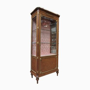 Antique Louis XVI Inlaid Bronze Display Cabinet, 1900s