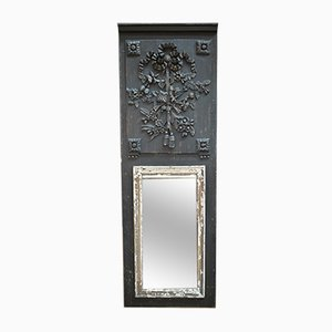 19th Century Louis XVI Style Black Patinated Pinewood Mirror