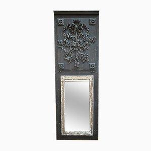 Spiegel aus schwarz patiniertem Kiefernholz im Louis XVI Stil, 19. Jh