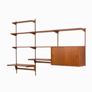 Teak Wall Unit with Large Desk and Cabinet by Kai Kristiansen for FM Møbler, 1960s