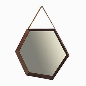 Mid-Century Hexagonal Teak Mirror, 1950s