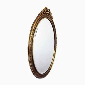 Oval Beveled Mirror with Gold Decor, 1960s