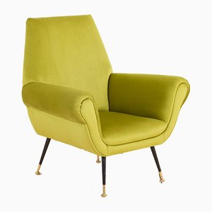 Mid-Century Italian Green Velvet Armchair by Gigi Radice for Minotti, 1950s