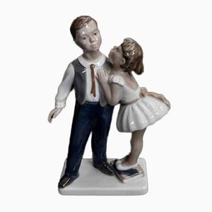 Danish Porcelain Boy and Girl Figurine from Lyngby, 1950s