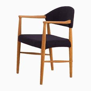 Danish Oak and Dark Blue Wool Desk Chair by Erik Kirkegaard, 1960s