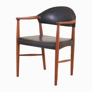 Teak and Black Aniline Leather Desk Chair by Erik Kirkegaard, 1960s