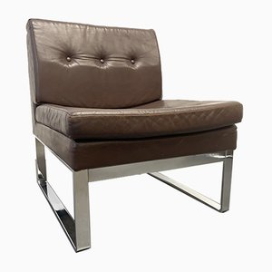 German Brown Leather Chair with Chrome-Plated Steel Frame from Röder, 1970s