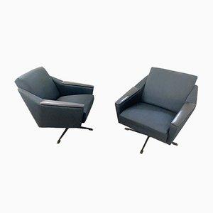 MId-Century German Grey Blue Fabric Swivel Chairs, 1950s, Set of 2