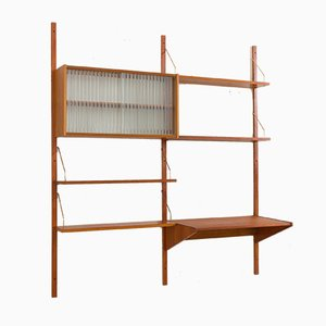 Danish Teak Wall Unit with Desk and Glass Cabinet by Poul Cadovius, 1960s