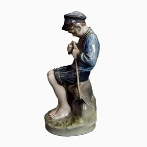 Vintage Nr. 905 Boy Curving a Stick Figurine from Royal Copenhagen, 1960s