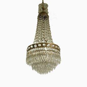 Lampadario vintage in ottone e cristallo, anni '40