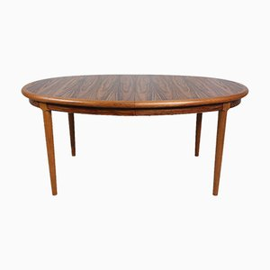 Danish Oval Rosewood and Teak Dining Table, 1960s