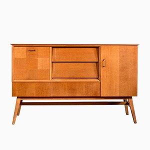 MId-Century Modern Sideboard Cabinet in Teak and Brass, 1960s