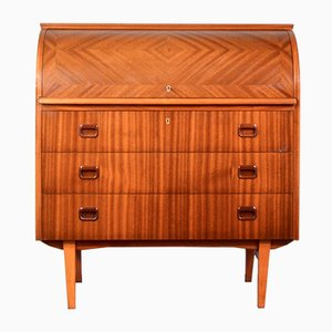 Mid-Century Modern Swedish Teak Roll-Top Drinks Cabinet Desk by Egon Ostergaard, 1960s