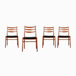 Vintage Danish Modern Teak & Leatherette Dining Chairs, 1960s, Set of 4