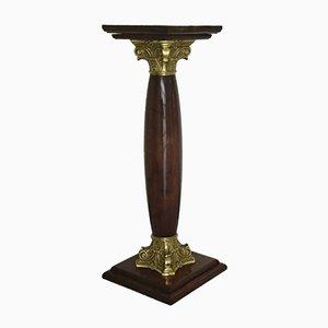 Mid-Century Empire Style Walnut and Brass Column