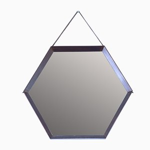 Specchio esagonale Mid-Century in teak