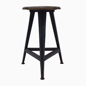 Bauhaus Metal and Wood Stool, 1940s