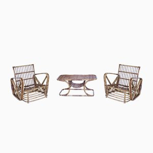 Rattan Lounge Chairs and Table Set from Vera, 1950s, Set of 3