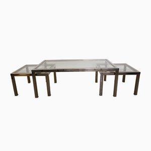 Tavolini da caffè vintage in ottone e placcati in cromo nello stile di Romeo Rega, set di 3