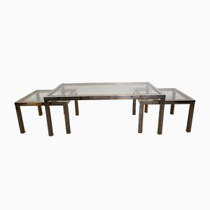 Vintage Chrome and Brass Coffee Tables, Set of 3