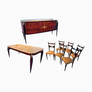 Mid-Century Italian Rosewood Dining Table & Chairs Set by Paolo Buffa, 1950s, Set of 8