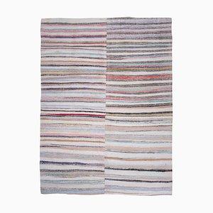 Türkischer gestreifter Vintage Rag Teppich, 1970er