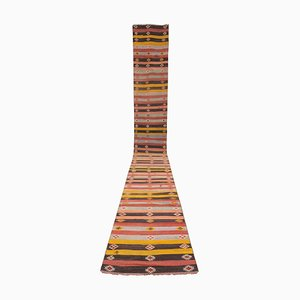 Vintage Turkish Striped Kilim Runner Rug, 1970s