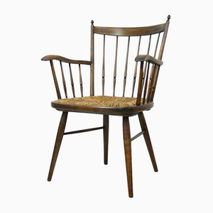 Mid-Century Rustic Beech and Seagrass Chair, 1950s