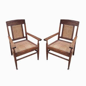 Vintage Caned Lounge Chairs, Set of 2