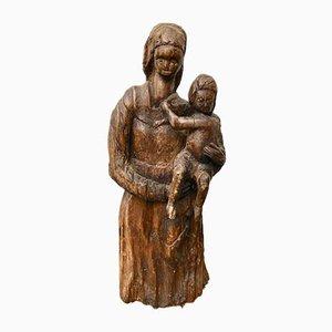 Escultura de mujer y niño vintage de madera tallada