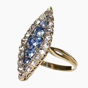 Bague Vintage en Or 18 ct, Saphir et Diamant