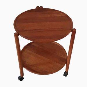 Danish Teak Folding Rolling Side Table, 1970s