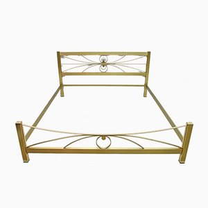 Mid-Century Gold and Satin Brass Double Bed by Luciano Frigerio, 1970s