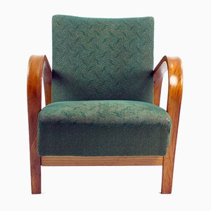 Vintage Green Fabric and Oak Armchair by Kropacek & Kozelka for Interier Praha, 1944