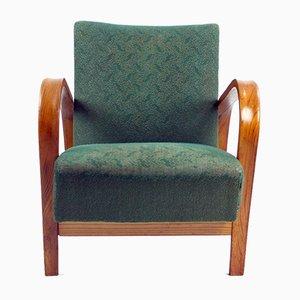 Vintage Green Fabric and Oak Armchair by Kropacek & Kozelka for Interier Praha, 1944