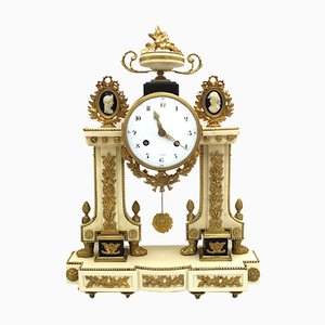 18th Century Louis XVI Gilt Bronze and Marble Pendulum Clock