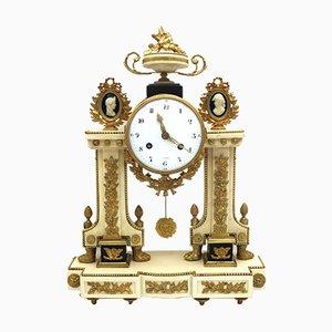 Horloge 18ème Siècle Louis XVI en Bronze Doré et Marbre Pendule