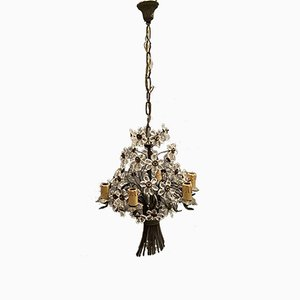 Kristallglas Blumen und Bronze Kronleuchter im Stil von Maison Baguès, 1920er