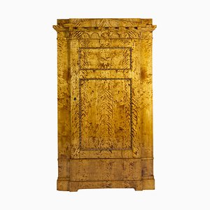 Antiker Biedermeier Schrank aus geflammter Birke