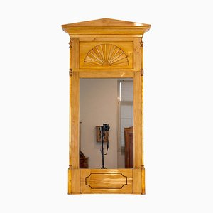 Antique Biedermeier Birch and Plum Wood Wall Mirror