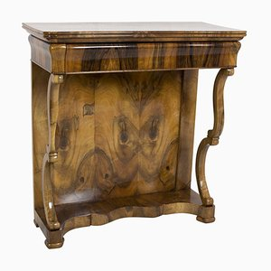Antique Biedermeier Walnut Console Table