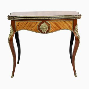 Antique Louis XVI Style Rosewood and Brass Game Table