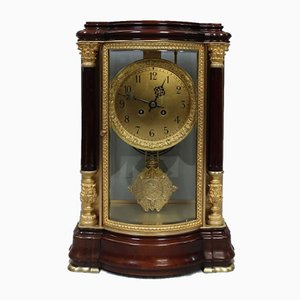 Antique French Mahogany and Glass Mantel Clock from Japy Freres, 1880s