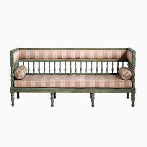 19th Century Gustavian Green Paint Freestanding Sofa