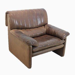 DS-86 Sessel aus weichem dickem braunen Nackenleder von de Sede
