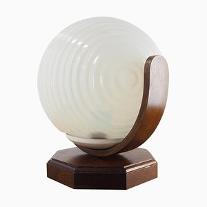 Vintage Wood and Glass Round Table Lamp, Czechoslovakia, 1970s